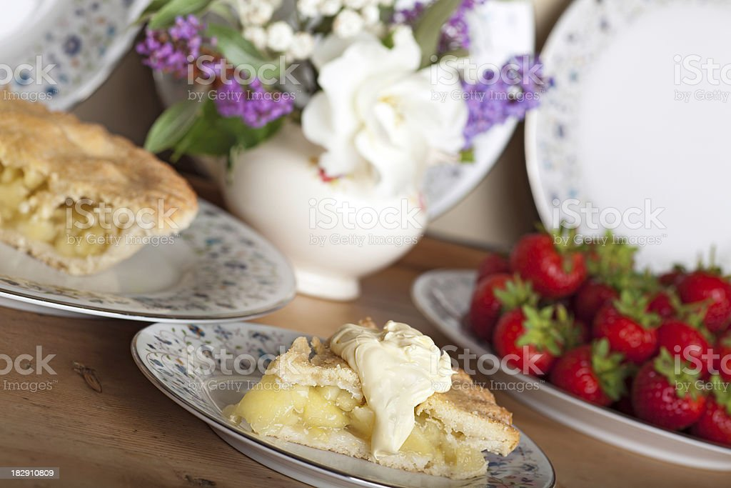 Apple pie and cream royalty-free stock photo