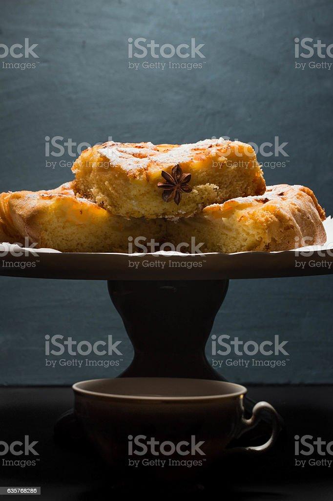 Apple pie and cuo of tea stock photo
