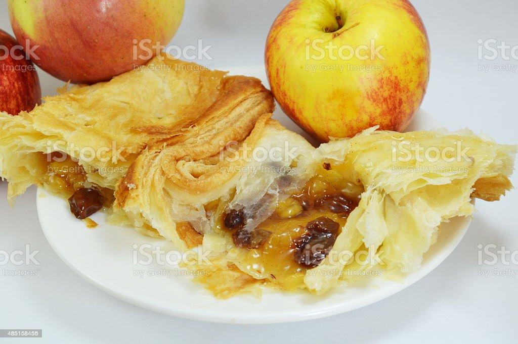 apple pie and fresh apple on dish stock photo