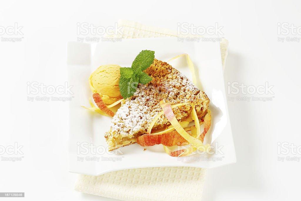 apple pie and ice cream royalty-free stock photo