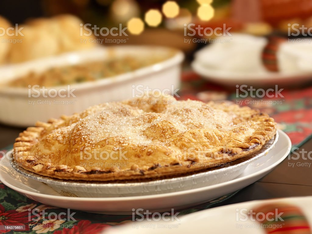 Apple Pie at Christmas Dinner royalty-free stock photo