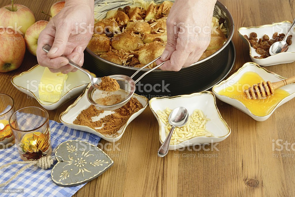 Apple pie baking. stock photo