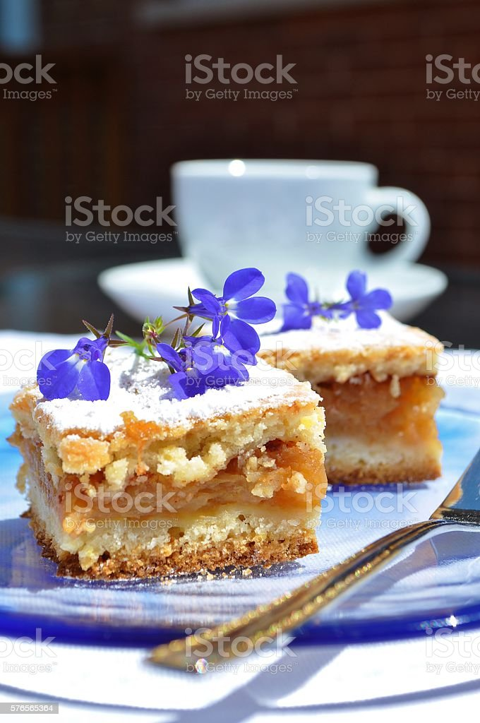 Apple pie, blue flowers.Closeup. stock photo