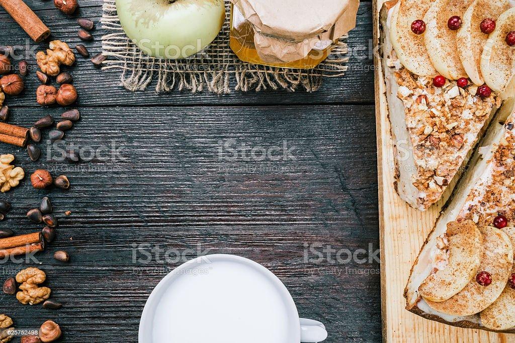 Apple pie closeup stock photo