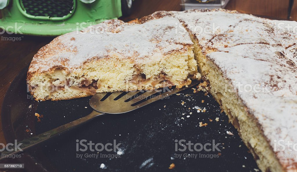 Apple pie cut in portion pieces at street food sale stock photo