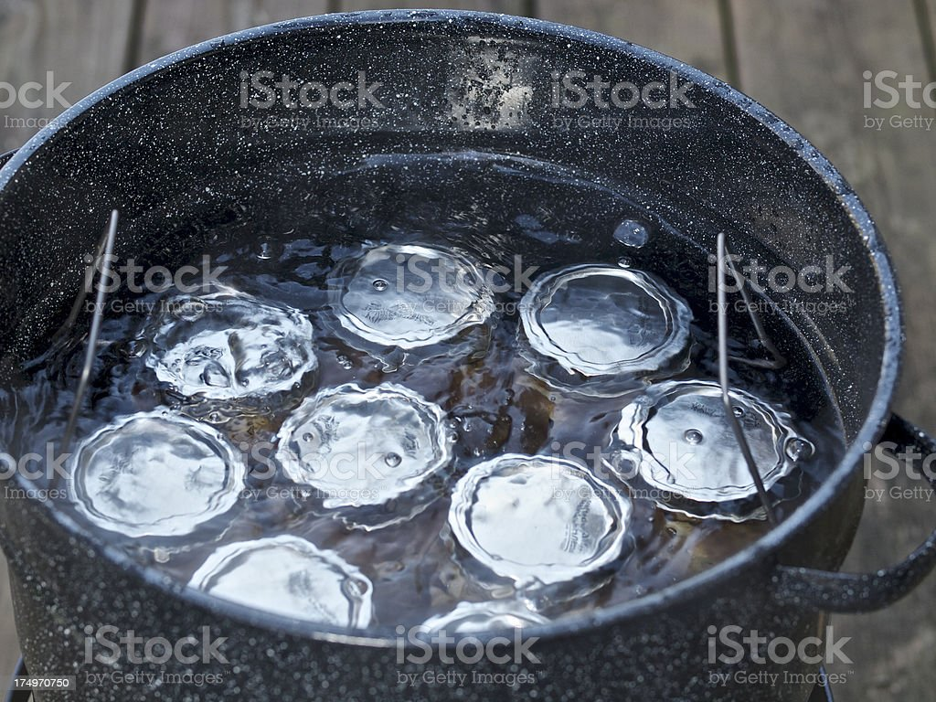 Apple Pie Filling Jar Canning Boiling Water Stock Pot Outside stock photo