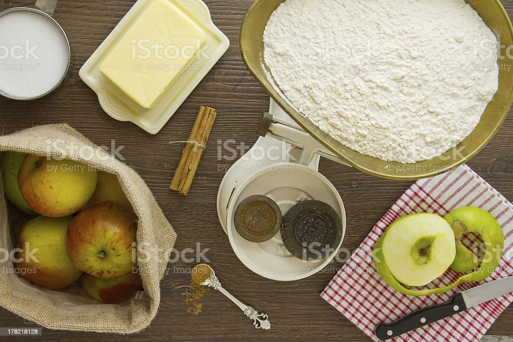 Apple Pie ingredients above tight royalty-free stock photo