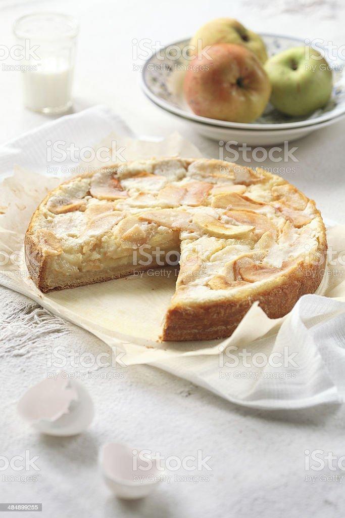 Apple Pie on on light background stock photo