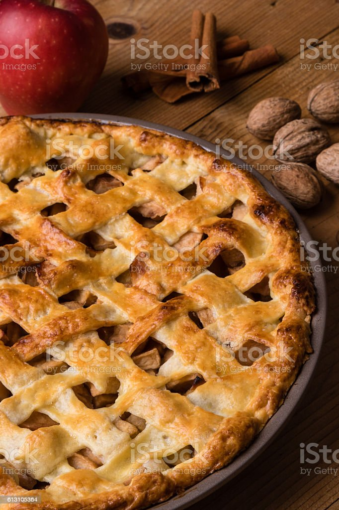 apple pie on table stock photo