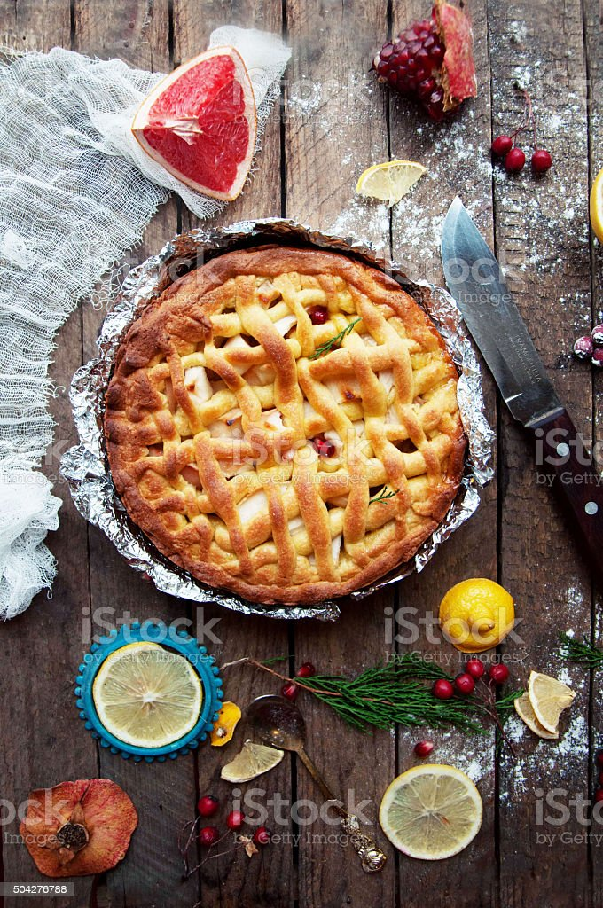Apple pie on vintage wooden background texture. stock photo