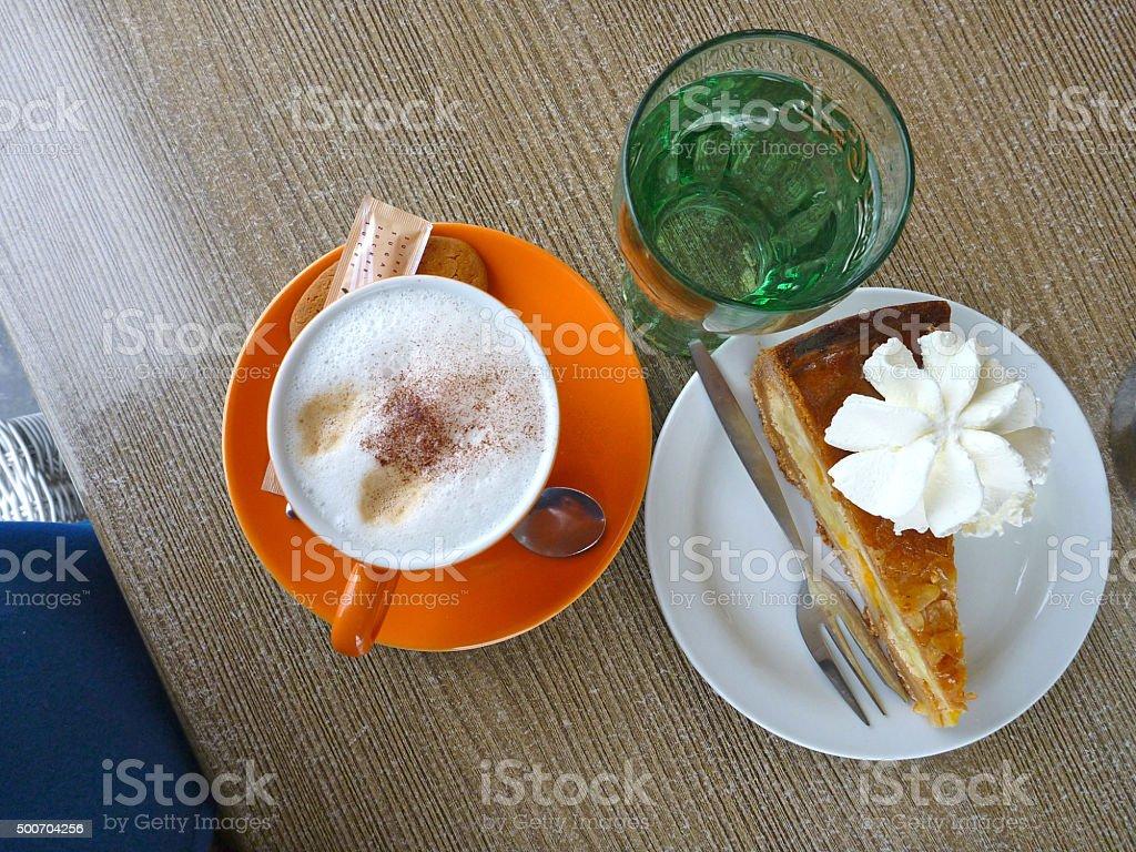 Apple pie or Cake with Fresh Italian Coffee - cappuccino stock photo