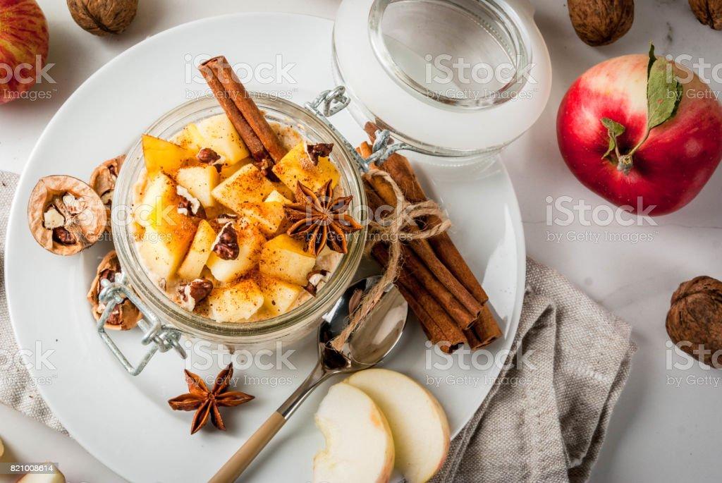 Apple pie overnight oatmeal stock photo