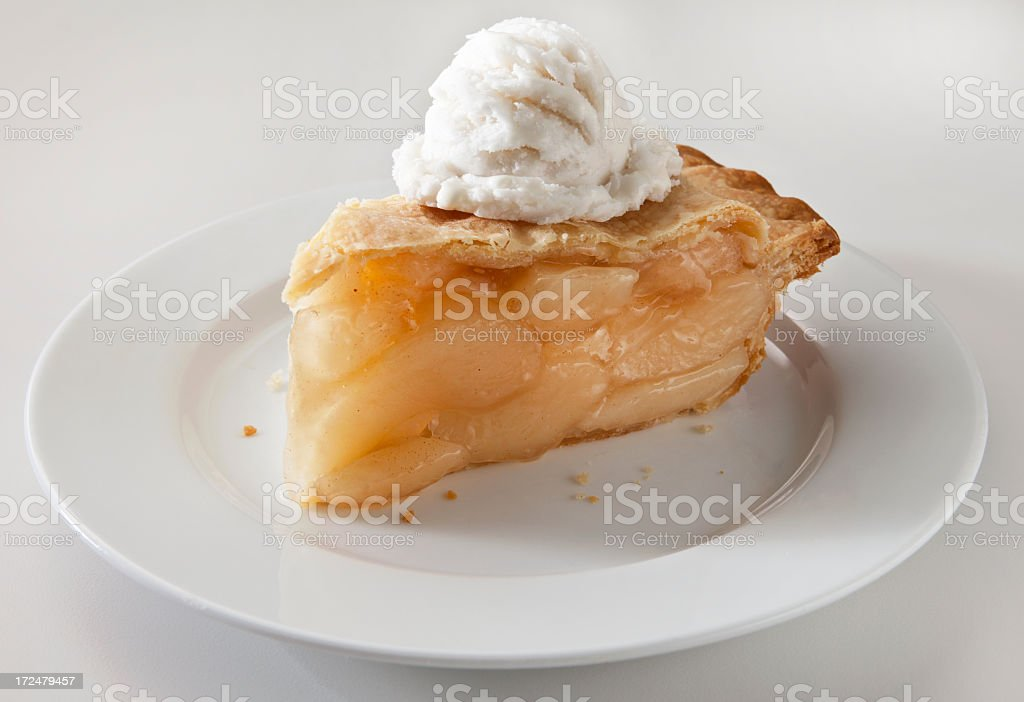 Apple Pie Slice and Ice Cream on a Light Background. stock photo