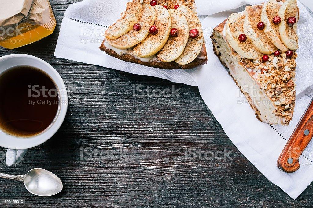 Apple pie teatable stock photo