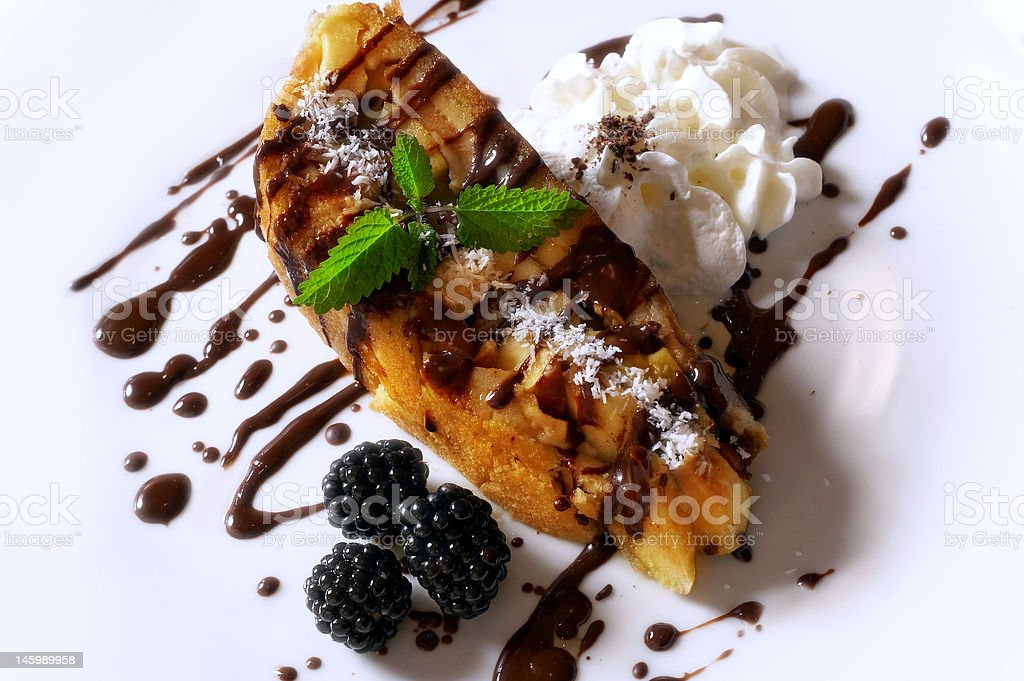 Apple pie with berries and cream royalty-free stock photo
