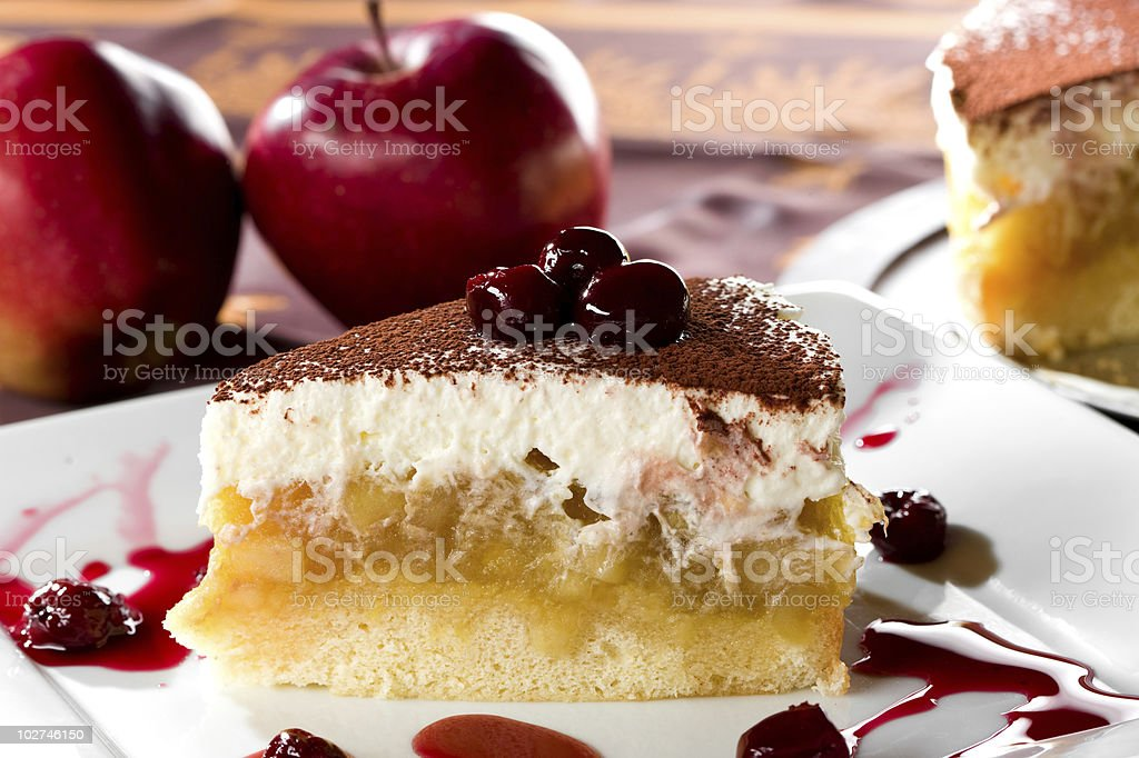 Apple pie with cherry stock photo