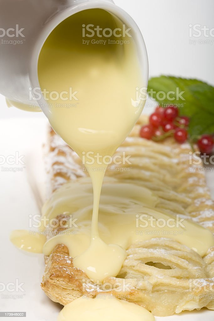 apple pie with custard stock photo