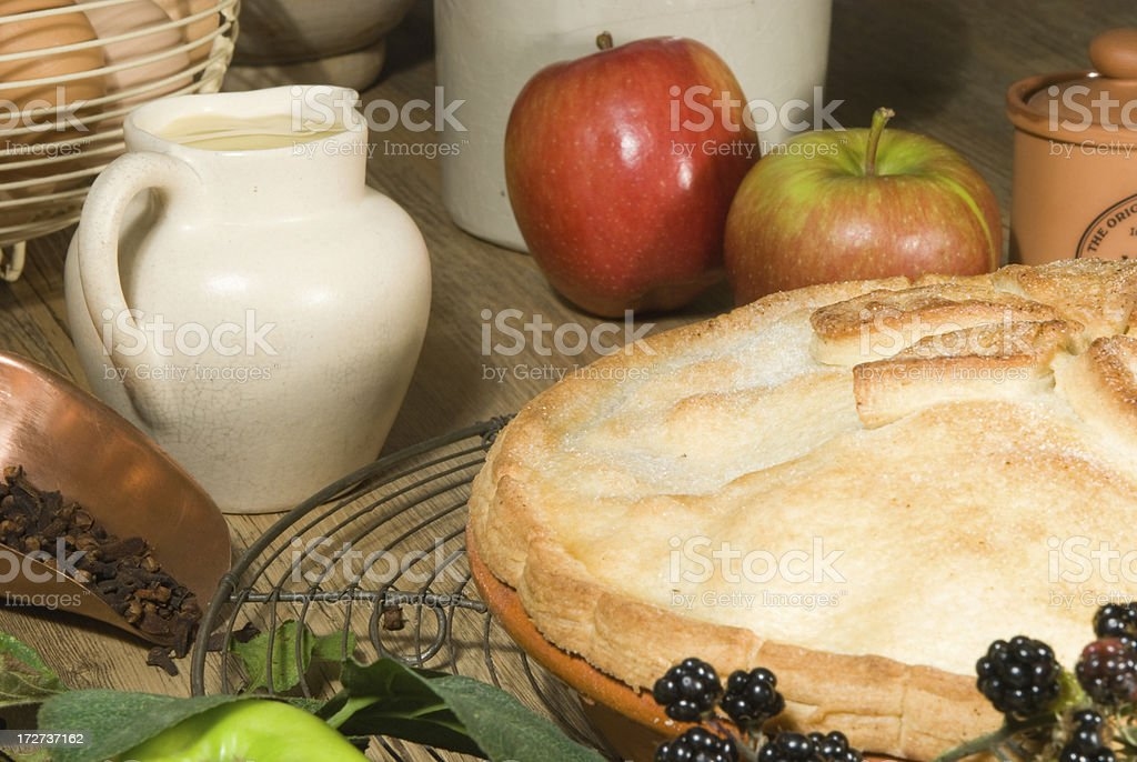 apple pie with ingredients stock photo