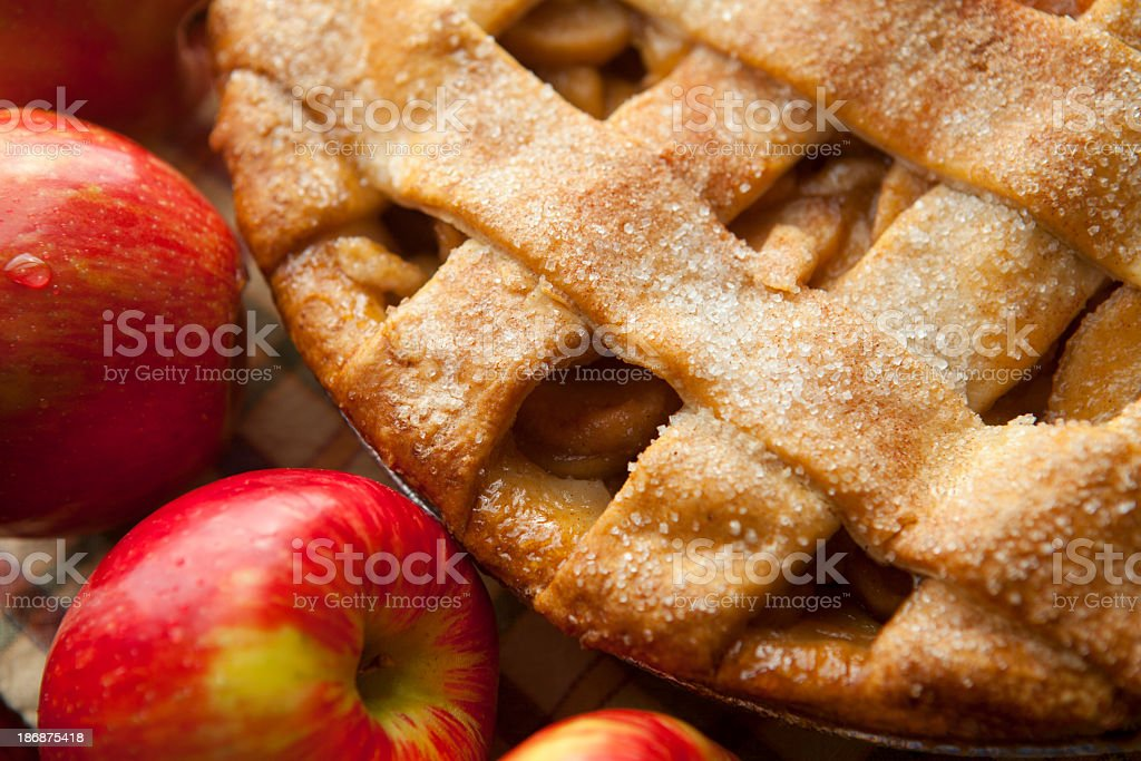 Apple pie with lattice crust stock photo