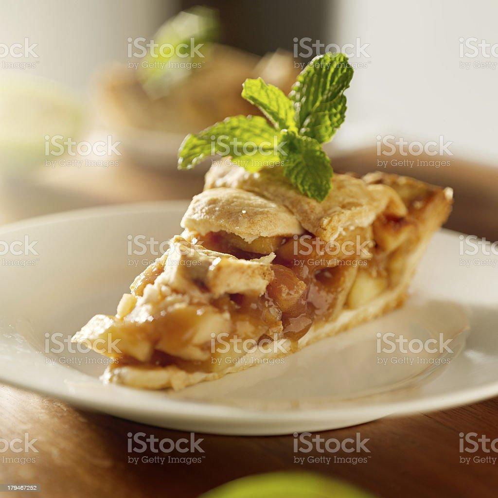 apple pie with mint garnish stock photo