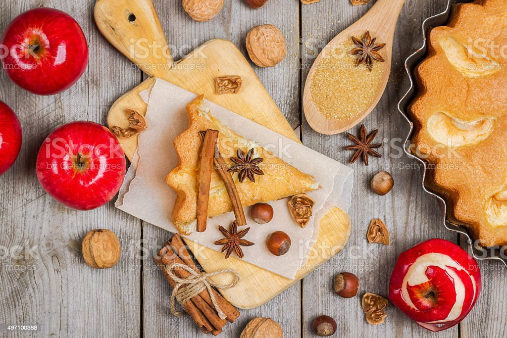 Apple pie with spices stock photo