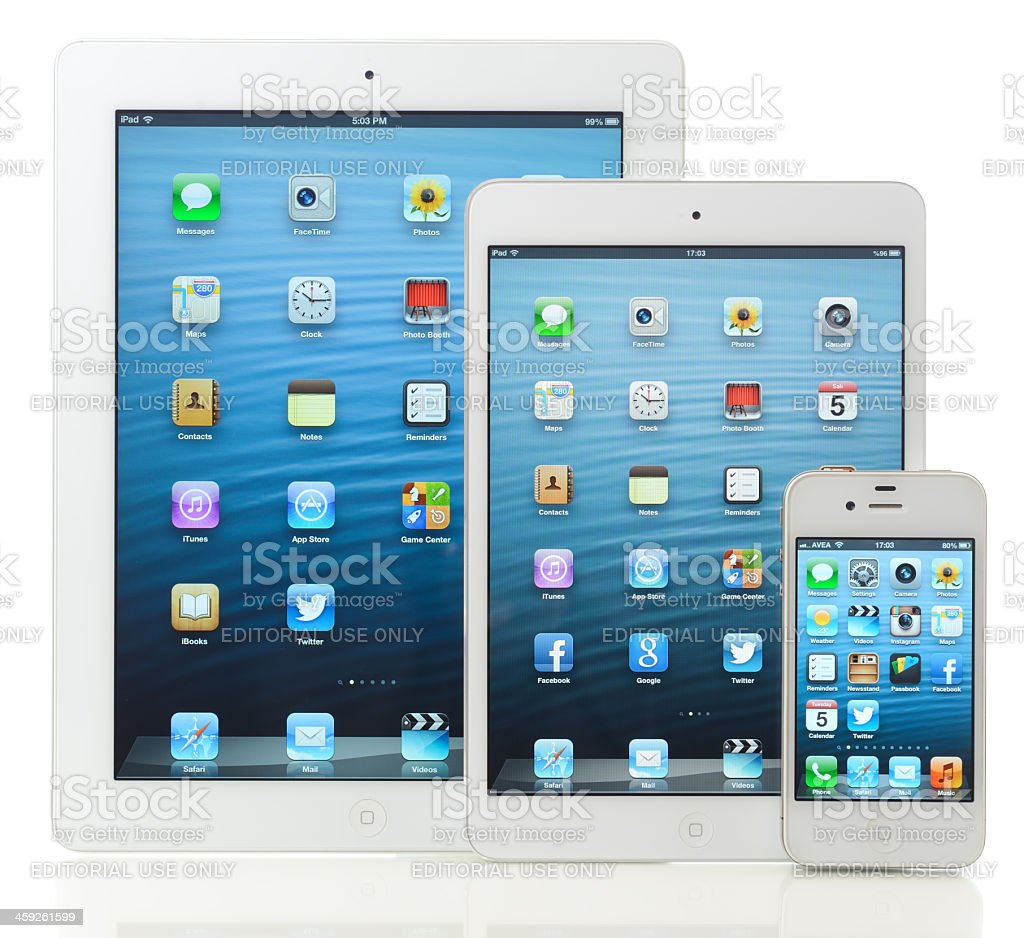 Apple products iPad and iPhone royalty-free stock photo