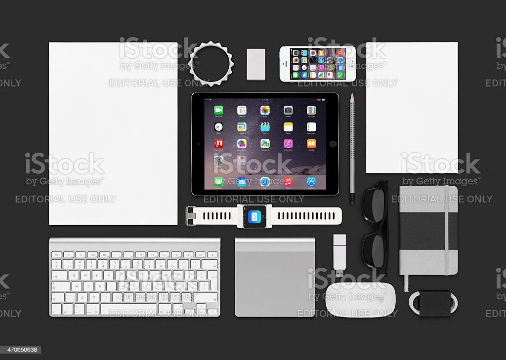 Apple products mockup stock photo