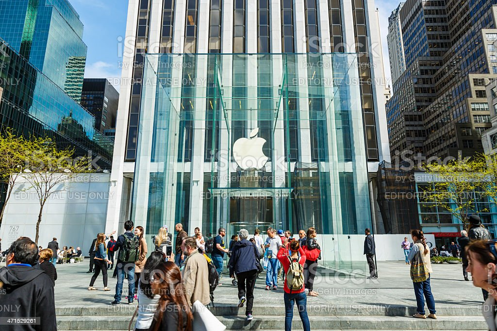 Apple retail store at 5th Avenue in New York City royalty-free stock photo