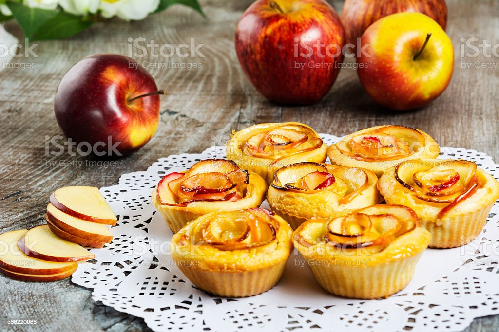 Apple rose shaped pie stock photo