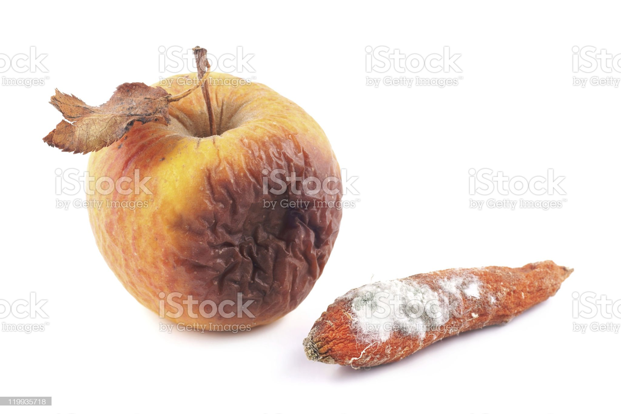 Apple rotten and moldy carrot royalty-free stock photo