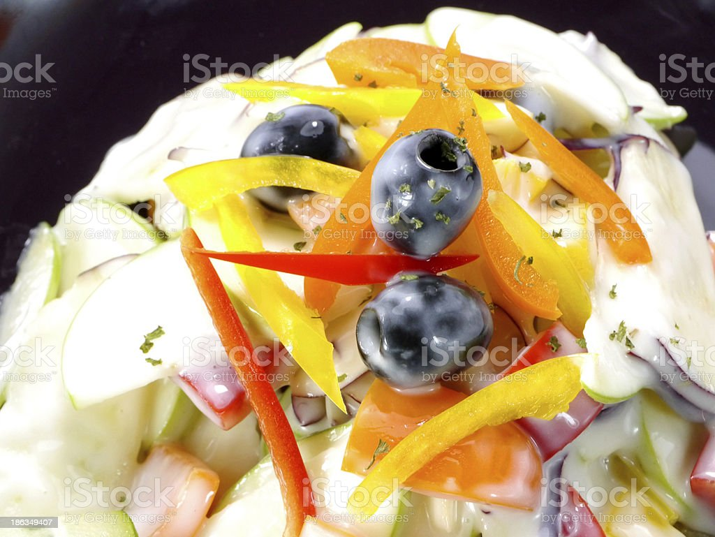 Apple Salad with colorful pepper and black olives. royalty-free stock photo