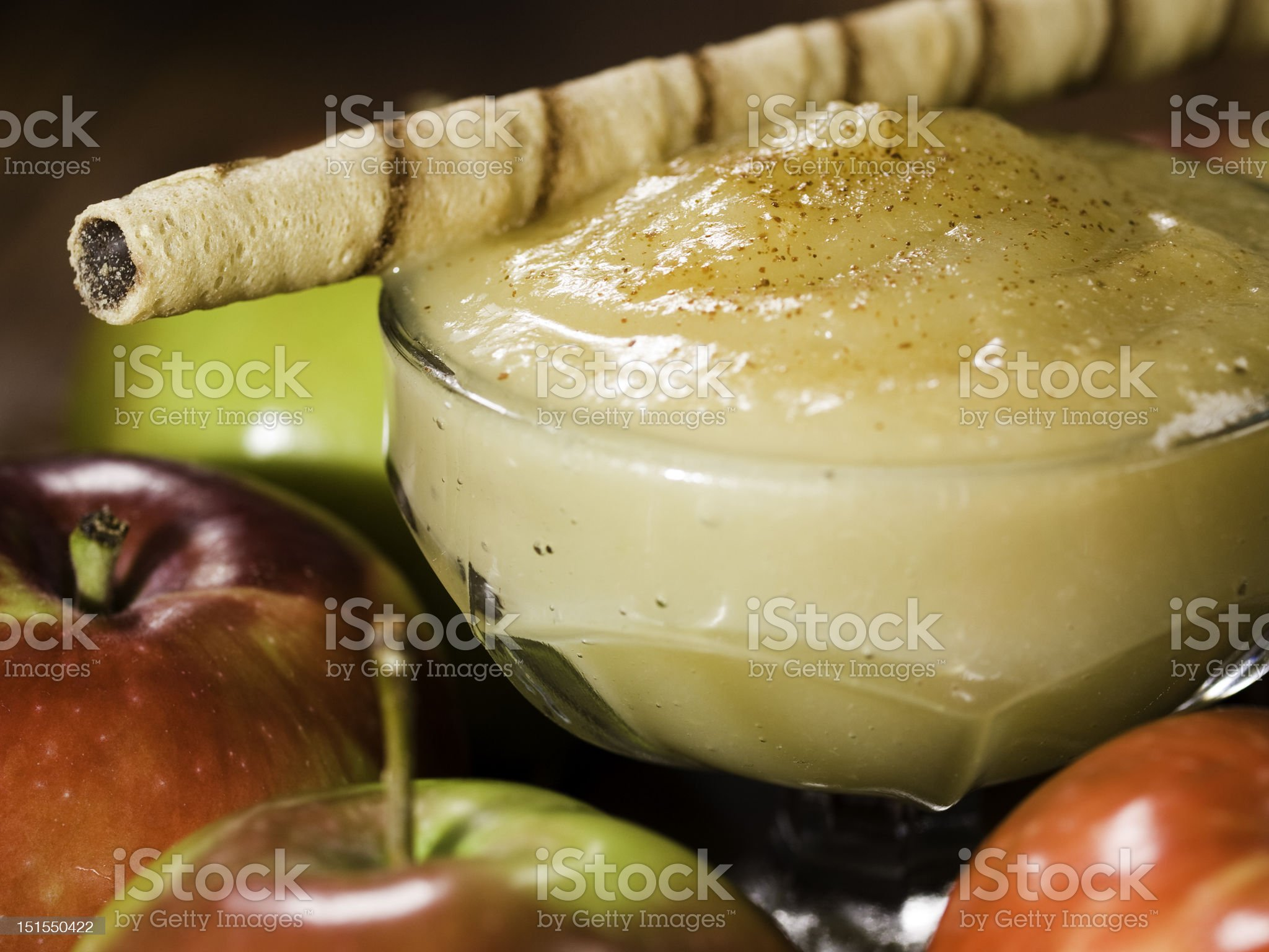 apple sauce with rolled wafer royalty-free stock photo