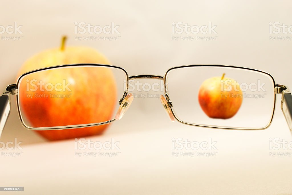 Apple saw from eygalsses with different zoom stock photo