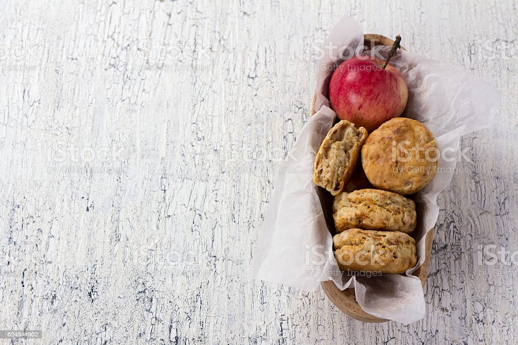 Apple scones on a white vintage surface stock photo