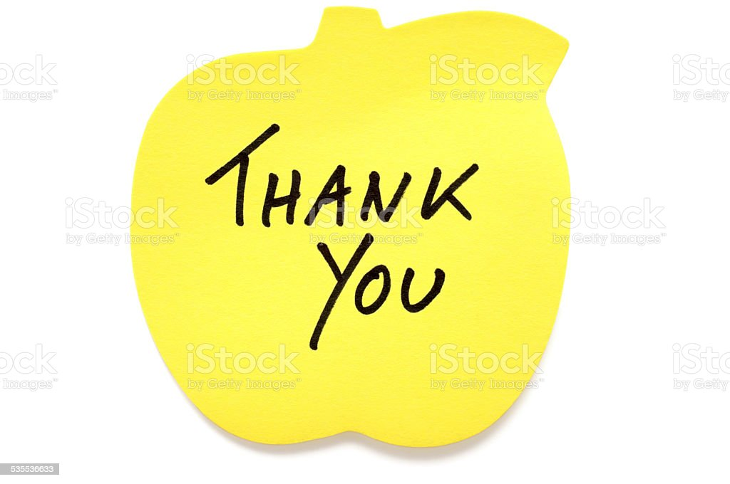 Apple shaped Thank You post-it note stock photo