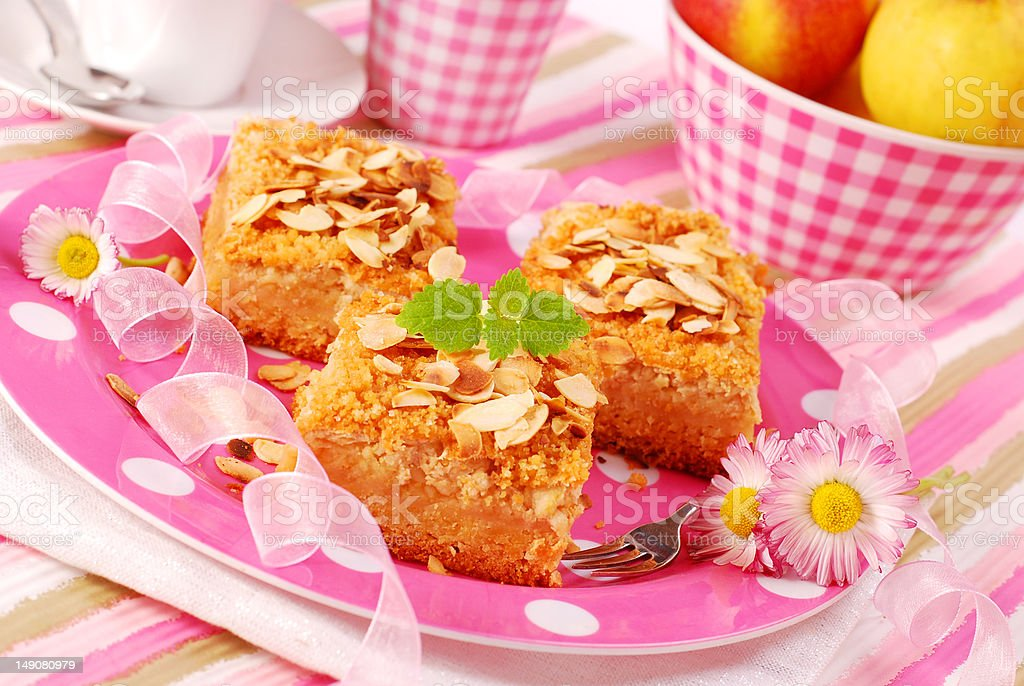 apple shortcake with almonds royalty-free stock photo