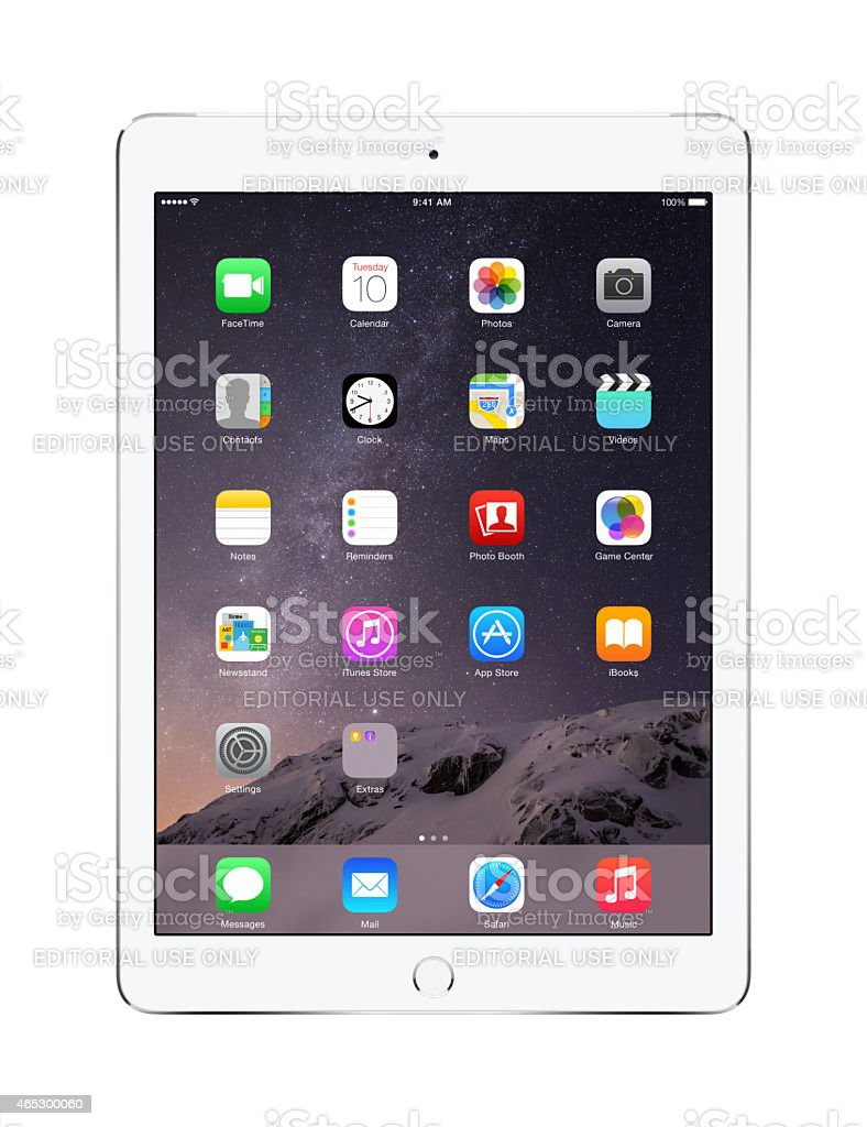 Apple Silver iPad Air 2 with iOS 8, stock photo