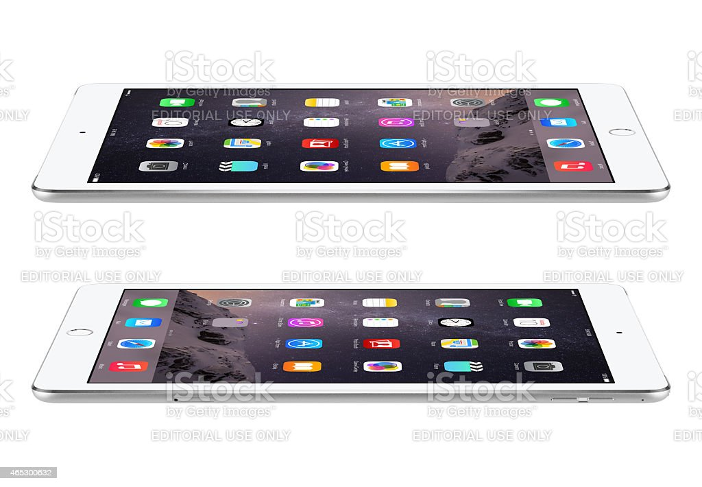 Apple Silver iPad Air 2 with iOS 8 stock photo