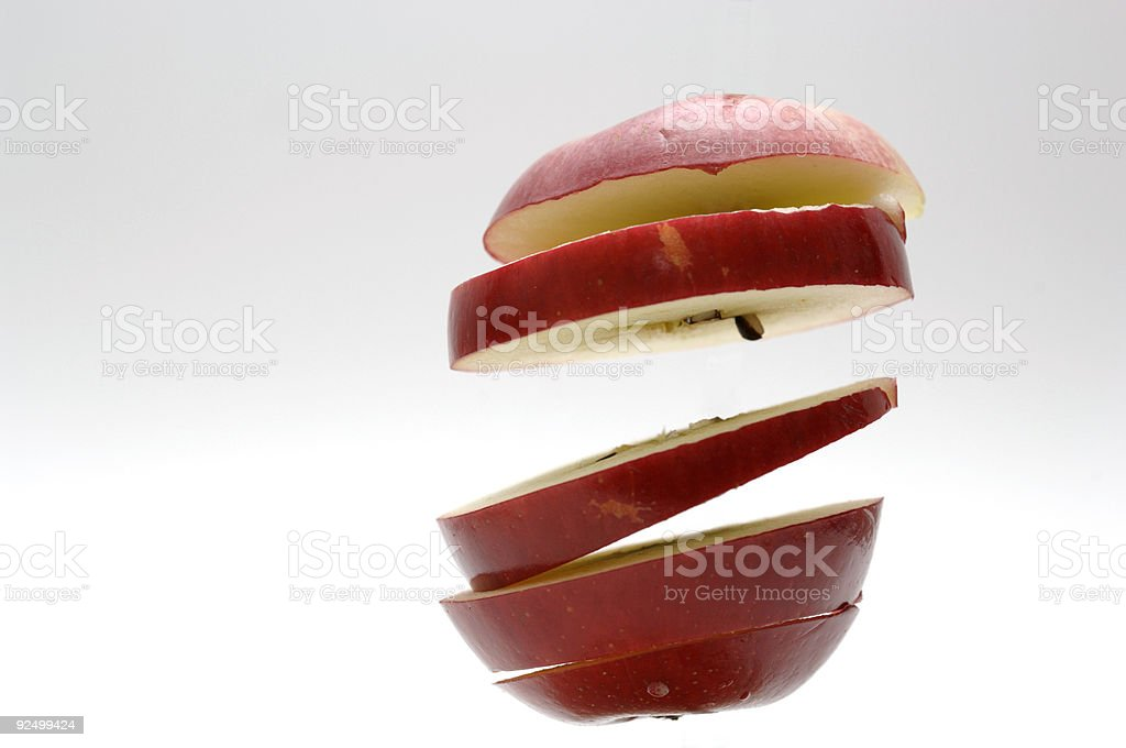 apple sliced floating in the air royalty-free stock photo