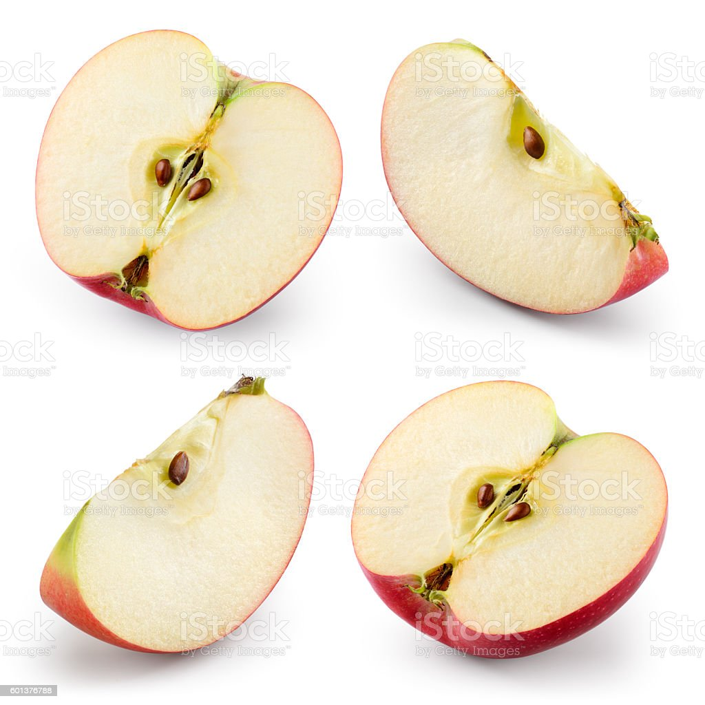 Apple slices isolated on white. Collection. With clipping path stock photo