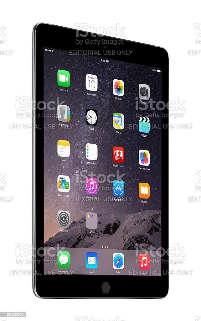 Apple Space Gray iPad Air 2 with iOS 8 stock photo