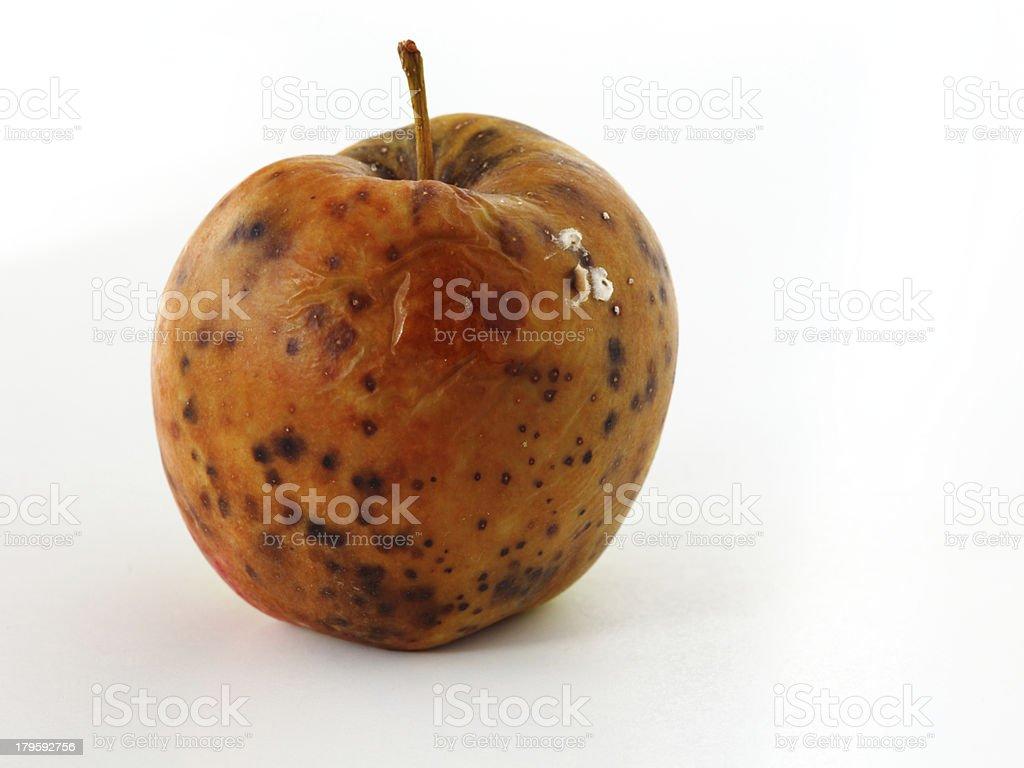 apple spoiled on white background royalty-free stock photo