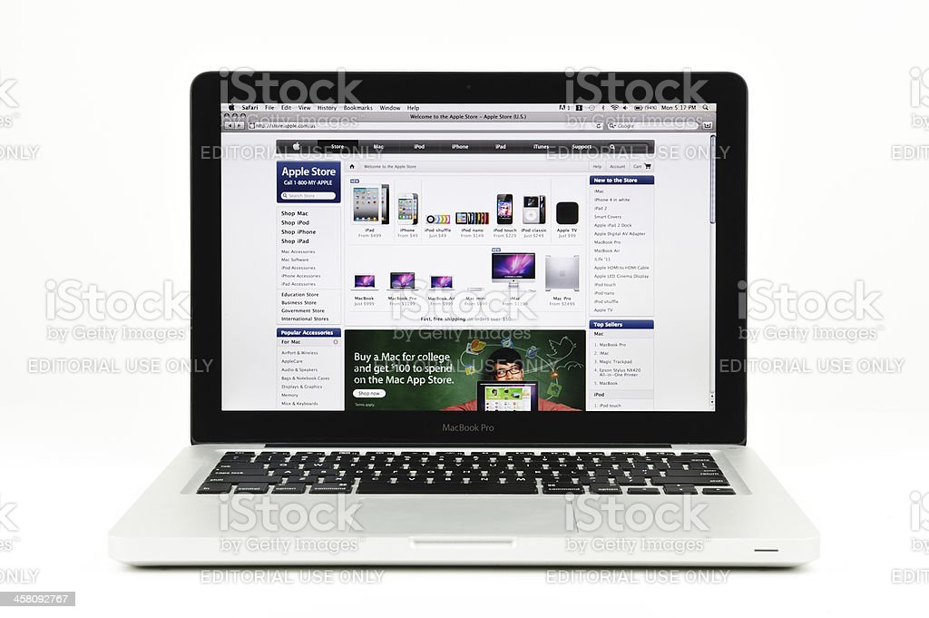 Apple Store Displayed on a MacBook Pro royalty-free stock photo