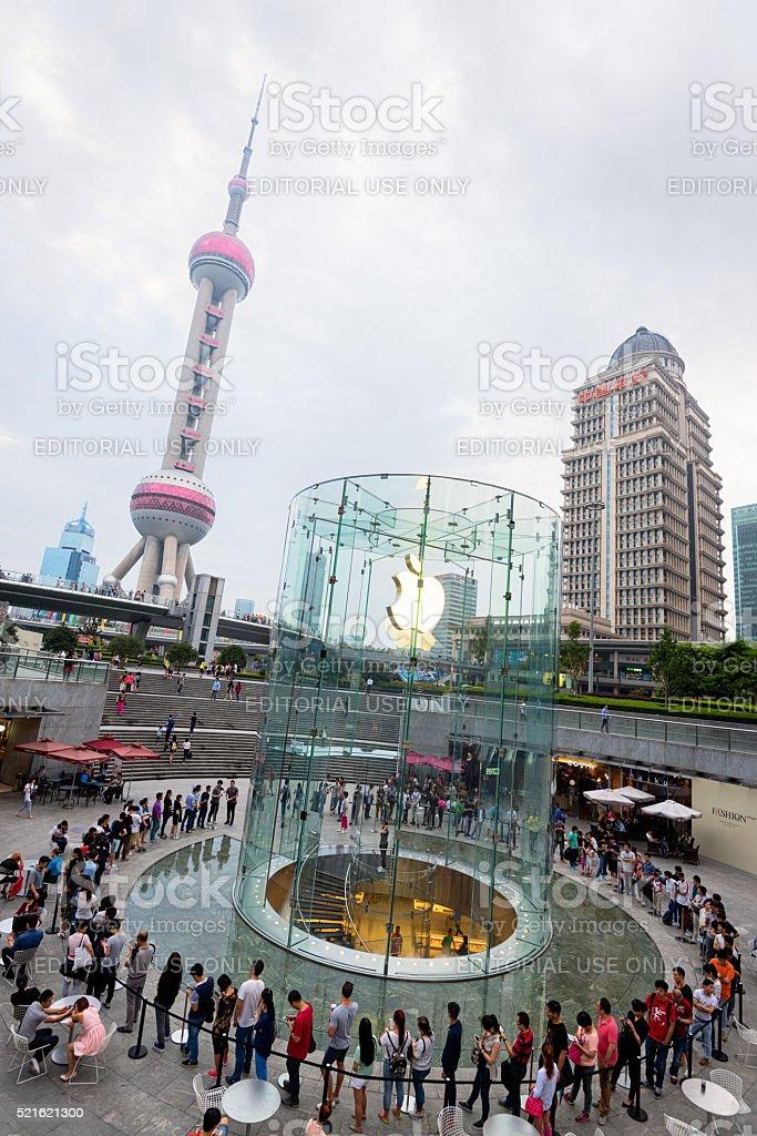 Apple Store in Shanghai, China. stock photo
