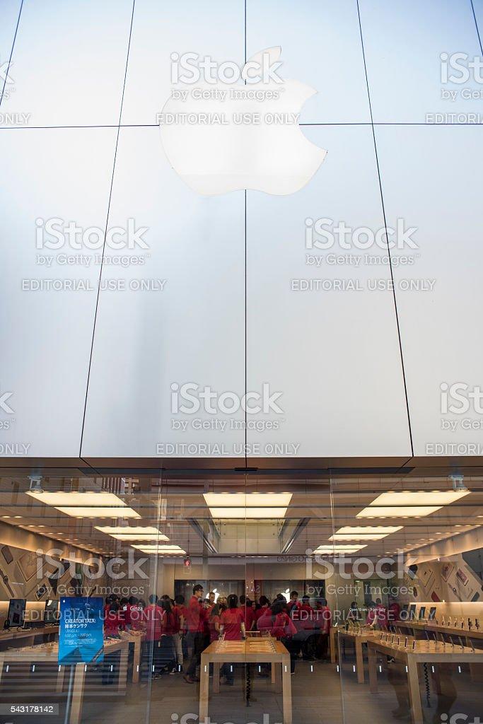 Apple store Tokyo, staff meeting stock photo