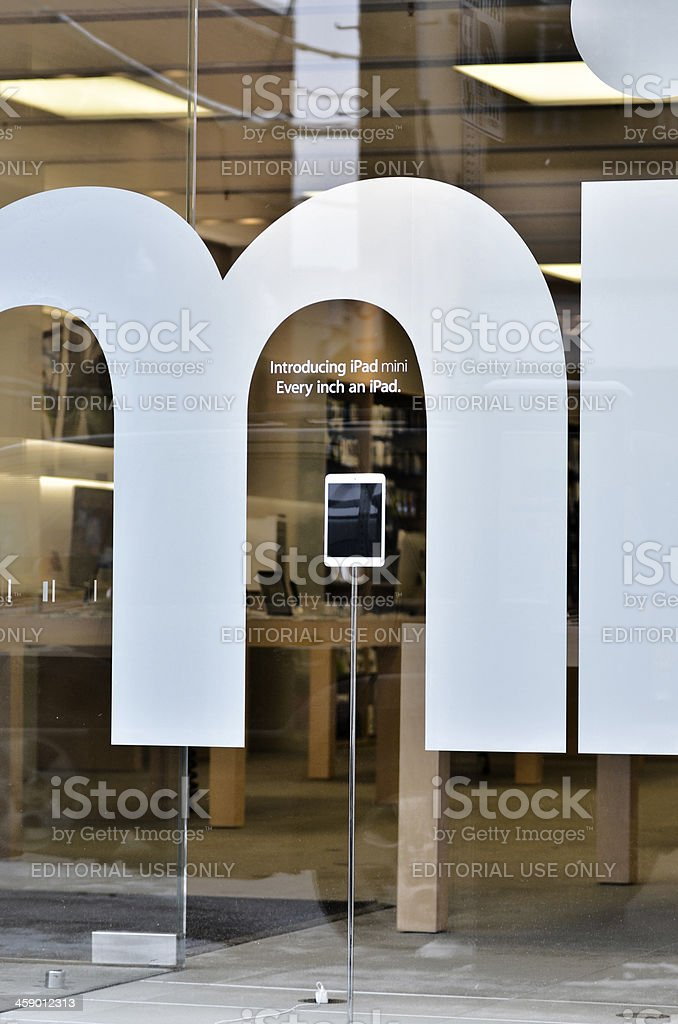 Apple Store Window with iPad Mini royalty-free stock photo