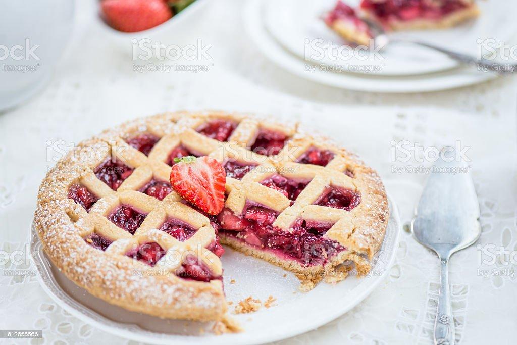 Apple, Strawberry and Blackberry Lattice Pie stock photo