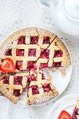 Apple, Strawberry and Blackberry Lattice Pie