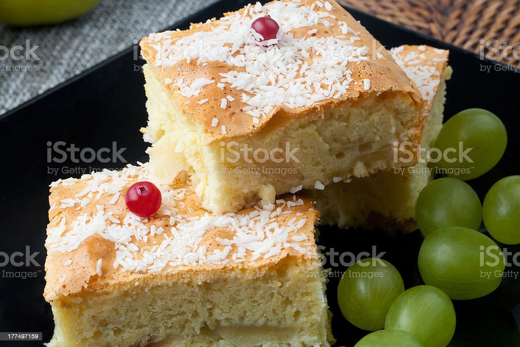 apple strudel and grapes stock photo