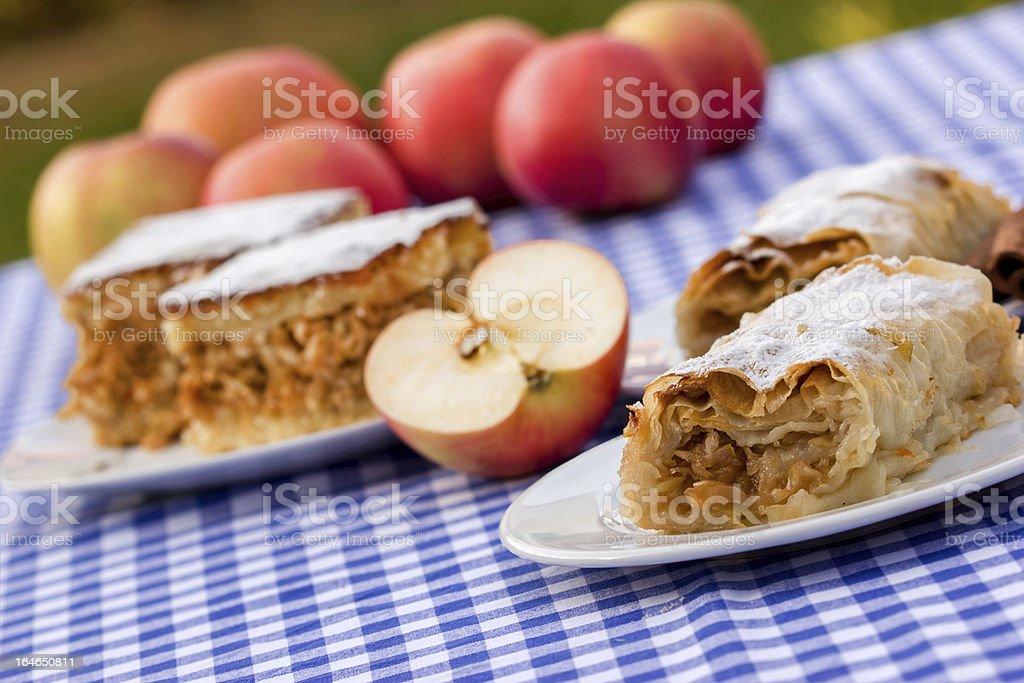 Apple strudel and pie (cakes) stock photo